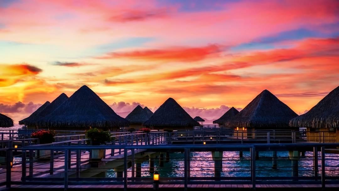 Bora-Bora sunset sky and bungalows