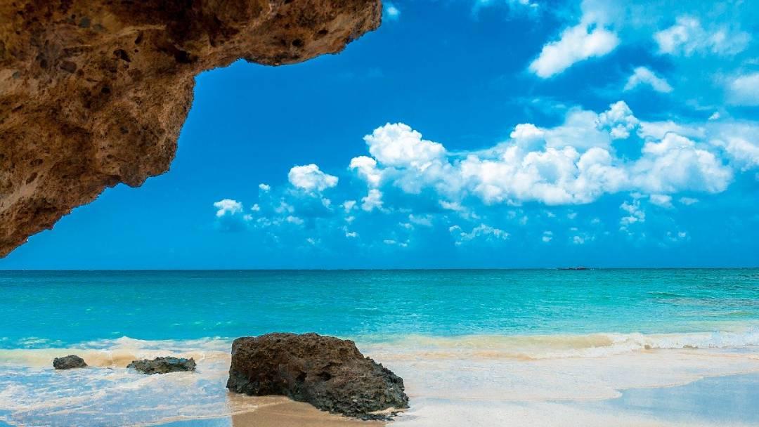Crete beach and sea view