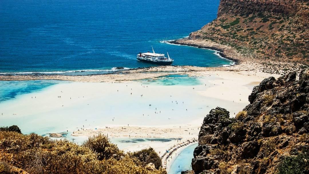 areal view on Crete lagoon, Greece