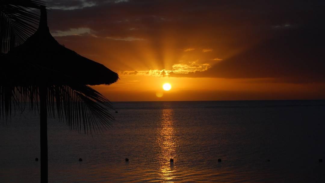 romantic sunset on Mauritius
