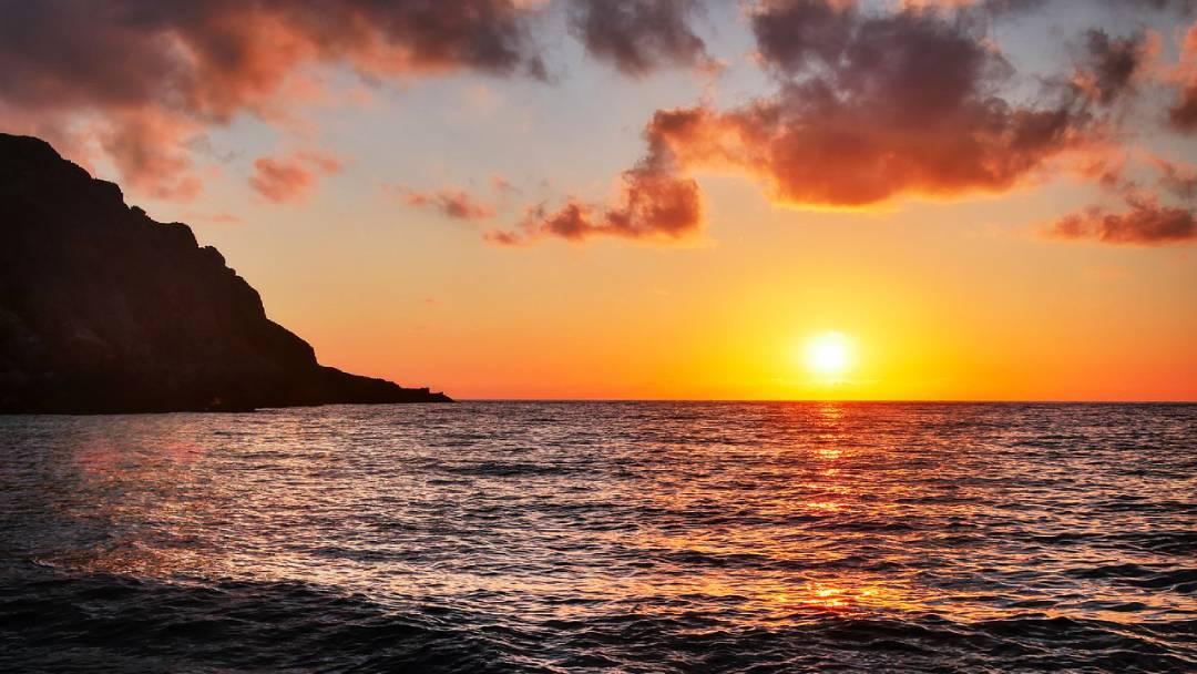 sunset on sea, Crete