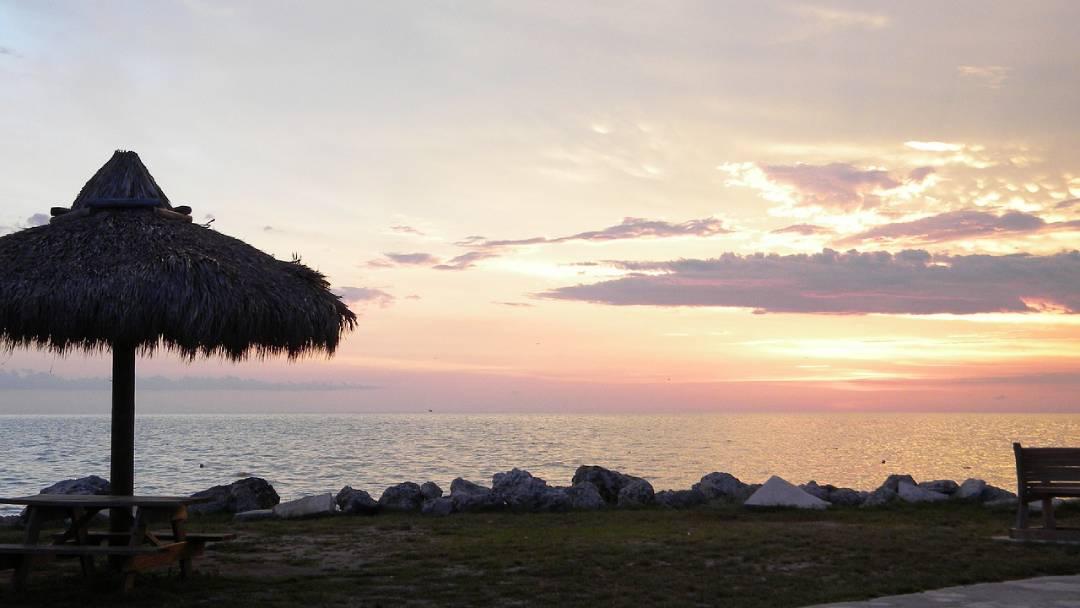 tiki hut at sunset, Maui