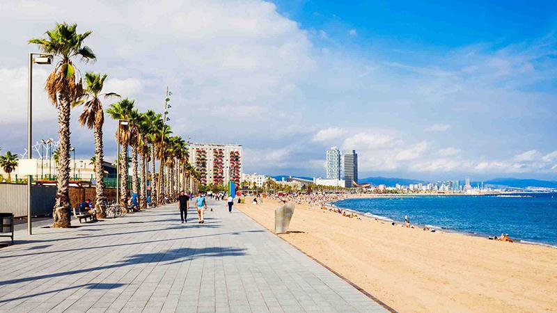 shoreline in Barcelona, Spain