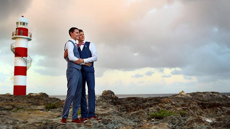 LGBT couple on honeymoon