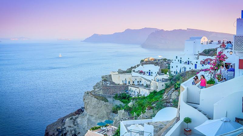 having honeymoon in Santorini
